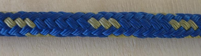 "1/2"" X 20' NYLON DOUBLE BRAID DOCK LINE - BLUE with GOLD"