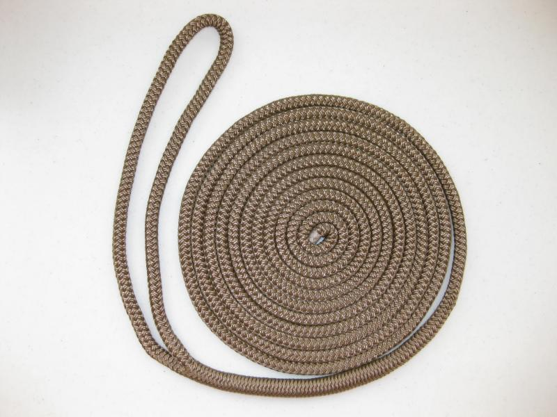 "1/2"" X 10' NYLON DOUBLE BRAID DOCK LINE - BROWN"