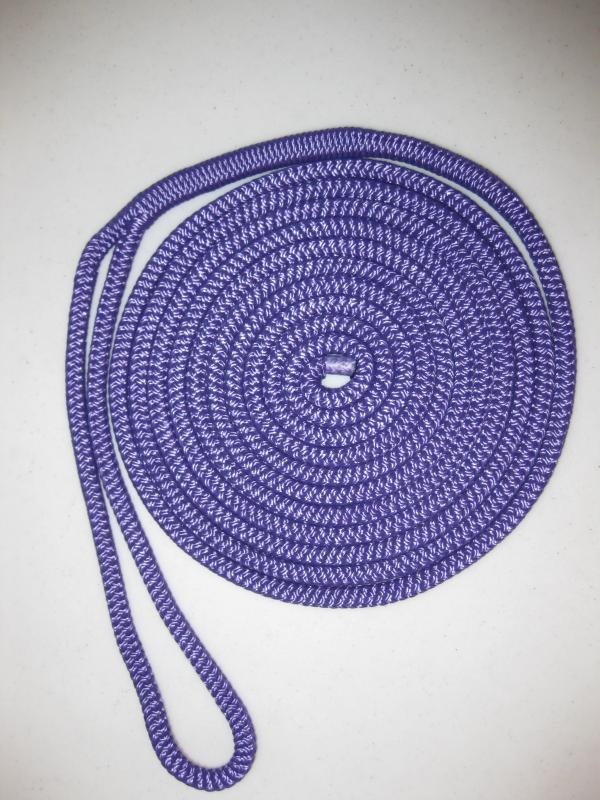 "3/8"" X 15' NYLON DOUBLE BRAID DOCK LINE - Purple"