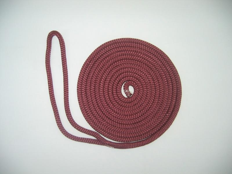 "3/8"" X 20' NYLON DOUBLE BRAID DOCK LINE - BURGUNDY - Click Image to Close"