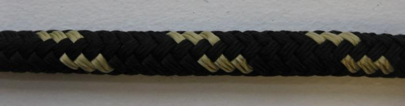 "3/8"" X 20' NYLON DOUBLE BRAID DOCK LINE - BLACK with GOLD - Click Image to Close"