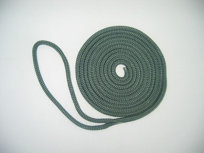 "1/2"" X 25' NYLON DOUBLE BRAID DOCK LINE - FOREST GREEN"