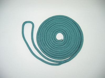 "3/8"" X 15' NYLON DOUBLE BRAID DOCK LINE - GREEN"