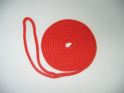 "5/8"" X 15' NYLON DOUBLE BRAID DOCK LINE - RED"