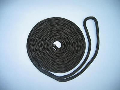"3/8"" X 50' NYLON DOUBLE BRAID SPRING LINE - BLACK"