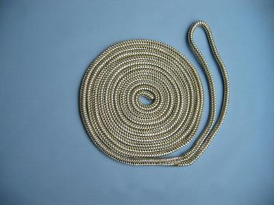 "5/8"" X 80' NYLON DOUBLE BRAID SPRING LINE - GOLD & WHITE"